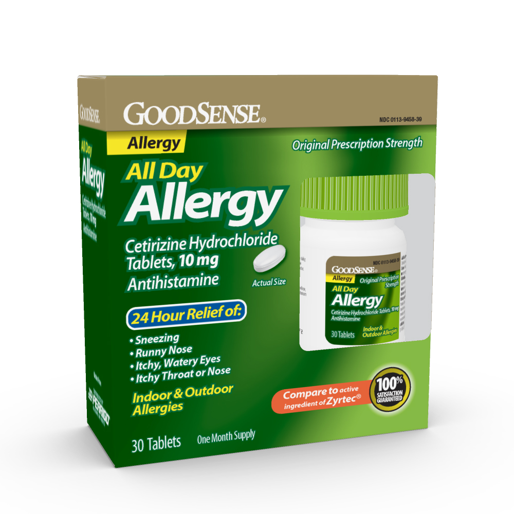 GoodSense® All Day Allergy Relief, Cetirizine HCl Tablets 10 mg, 30/ea